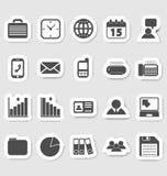 Bedrijfs en bureaupictogrammen, stikers Stock Foto's