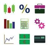 Bedrijfs en financiën geplaatste pictogrammen Royalty-vrije Stock Fotografie