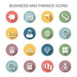 Bedrijfs en financiën lange schaduwpictogrammen vector illustratie