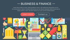 Bedrijfs en financiën vlak pictogrammenconcept Het ontwerp van het bedrijfsinfographicsmalplaatje, Webelementen, affichebanner, V royalty-vrije illustratie