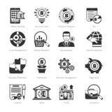 Bedrijfs en Financiën Zwarte Pictogrammen Stock Foto's