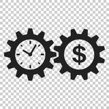 Bedrijfs en financiënbeheerspictogram in vlakke stijl De tijd is mone vector illustratie