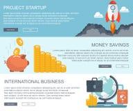 Bedrijfs en financiënconcepten Projectopstarten, geldbesparingen en internationale bedrijfsbanners Vlakke vector vector illustratie