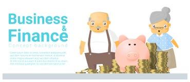 Bedrijfs en Financiënconceptenachtergrond met hoger paar en pensioneringsplan royalty-vrije illustratie