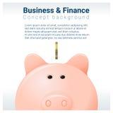 Bedrijfs en Financiënconceptenachtergrond met spaarvarken vector illustratie