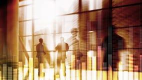 Bedrijfs en financiëngrafiek op vage achtergrond Handel, investering en economieconcept stock foto's