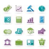 Bedrijfs en financiënpictogrammen Stock Foto's