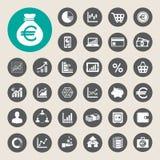 Bedrijfs en financiënpictogramreeks. Royalty-vrije Stock Foto