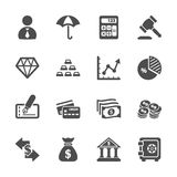 Bedrijfs en financiënpictogramreeks, vectoreps10 Stock Foto