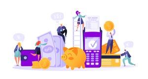 Bedrijfs en financiënthema Concept online bankieren, de technologie van de geldtransactie vector illustratie