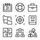 Bedrijfs en financi?n geplaatste lijnpictogrammen royalty-vrije illustratie