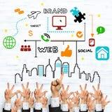 Bedrijfs en groepswerkconcept Stock Foto's