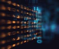 Bedrijfs en het leren pictogram op blauwe technologieachtergrond Stock Foto