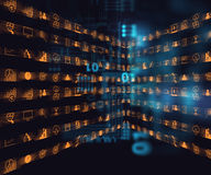 Bedrijfs en het leren pictogram op blauwe technologieachtergrond Stock Afbeelding