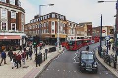 Bedrijfs en het winkelen gebied op Eden Street, Kingston op Theems in Groot Londen, Engeland Royalty-vrije Stock Foto's