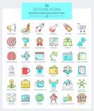 Bedrijfs en Marketing Pictogrammen Royalty-vrije Illustratie