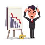 Bedrijfs en mens die de dageraad van de statistiekpijl bevinden zich kijken crisis D vector illustratie