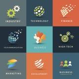 Bedrijfs en technologie geplaatste pictogrammen Royalty-vrije Stock Foto