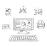 Bedrijfs, financiële en bureauvoorwerpen Stock Afbeelding