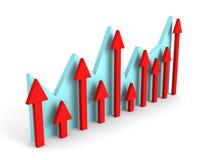 Bedrijfs financiële grafiekgrafiek op witte achtergrond Royalty-vrije Stock Afbeeldingen
