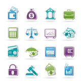 Bedrijfs, financiën en bankpictogrammen Royalty-vrije Stock Foto's