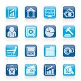 Bedrijfs, financiën en bankpictogrammen Stock Foto