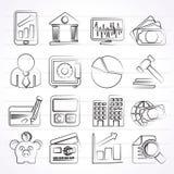Bedrijfs, financiën en bankpictogrammen Stock Foto's