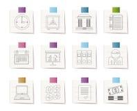 Bedrijfs, financiën en bureaupictogrammen vector illustratie