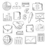 Bedrijfs, financiën en bureaupictogrammenschetsen Royalty-vrije Stock Afbeelding