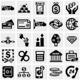 Bedrijfs & Financiën vectorpictogrammen die op grijs worden geplaatst Stock Afbeelding
