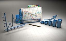 Bedrijfs financiëngrafiek, diagram, grafische staaf, royalty-vrije illustratie