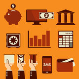 Bedrijfs & Financiënwebpictogrammen Stock Afbeeldingen