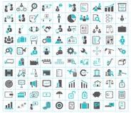 Bedrijfs, financiën, het verschepen en bureaupictogrammen Stock Foto's