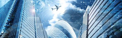 Bedrijfs futuristische wolkenkrabberbanner