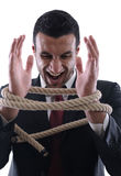 Bedrijfs geïsoleerdet mens met kabel Royalty-vrije Stock Foto's
