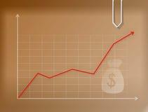 Bedrijfs geldgrafiek op pakpapier royalty-vrije illustratie