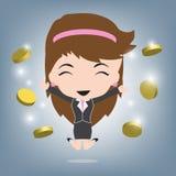 Bedrijfs gelukkige vrouw en muntstukken of geldinkomen, de vector van de Bedrijfsconceptenillustratie in vlak ontwerp Royalty-vrije Stock Fotografie