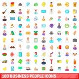 100 bedrijfs geplaatste mensenpictogrammen, beeldverhaalstijl Stock Fotografie