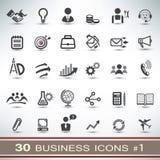 30 bedrijfs geplaatste pictogrammen Stock Afbeelding