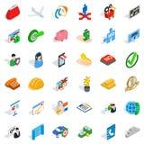 Bedrijfs geplaatste planningspictogrammen, isometrische stijl Stock Afbeeldingen