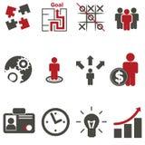 Bedrijfs geplaatste strategiepictogrammen Stock Afbeelding