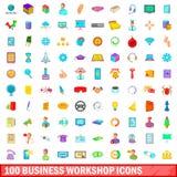100 bedrijfs geplaatste workshoppictogrammen, beeldverhaalstijl Royalty-vrije Stock Afbeelding