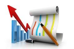 Bedrijfs grafiek en grafiek Stock Foto's