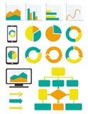 Bedrijfs grafiek en info geplaatste grafiekpictogrammen Stock Fotografie