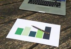 Bedrijfs grafiek en laptop Stock Afbeeldingen