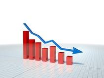 Bedrijfs Grafiek met blauwe pijl Stock Foto's