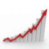 Bedrijfs grafiek met het uitgaan van rode pijl Stock Afbeeldingen