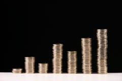 Bedrijfs grafiek met muntstukken royalty-vrije stock fotografie