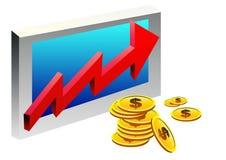 Bedrijfs grafiek met muntstukken en pijl Royalty-vrije Stock Foto