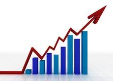 Bedrijfs grafiek met net Stock Afbeelding